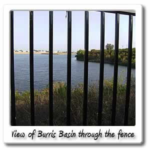 view of burris basin through the fence